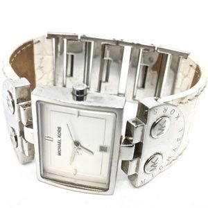 MICHAEL KORS~4133~WHITE LEATHER & SILVER WATCH